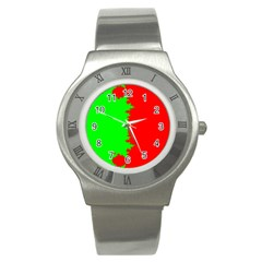 Critical Points Line Circle Red Green Stainless Steel Watch