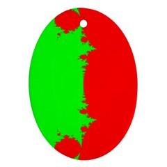 Critical Points Line Circle Red Green Oval Ornament (Two Sides)