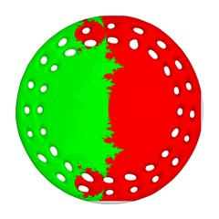 Critical Points Line Circle Red Green Round Filigree Ornament (Two Sides)
