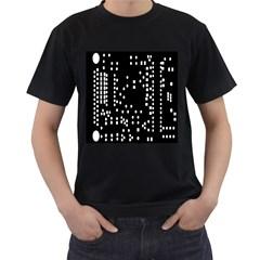 Circle Plaid Black White Men s T-Shirt (Black)