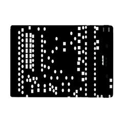 Circle Plaid Black White Apple iPad Mini Flip Case