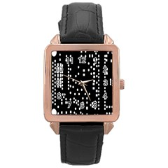 Circle Plaid Black White Rose Gold Leather Watch