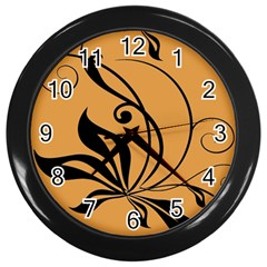 Black Brown Floral Symbol Wall Clocks (Black)