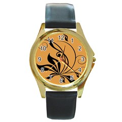 Black Brown Floral Symbol Round Gold Metal Watch