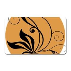 Black Brown Floral Symbol Magnet (Rectangular)