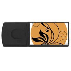 Black Brown Floral Symbol USB Flash Drive Rectangular (1 GB)