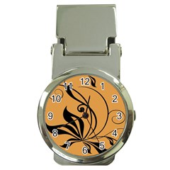 Black Brown Floral Symbol Money Clip Watches