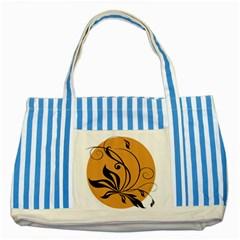 Black Brown Floral Symbol Striped Blue Tote Bag