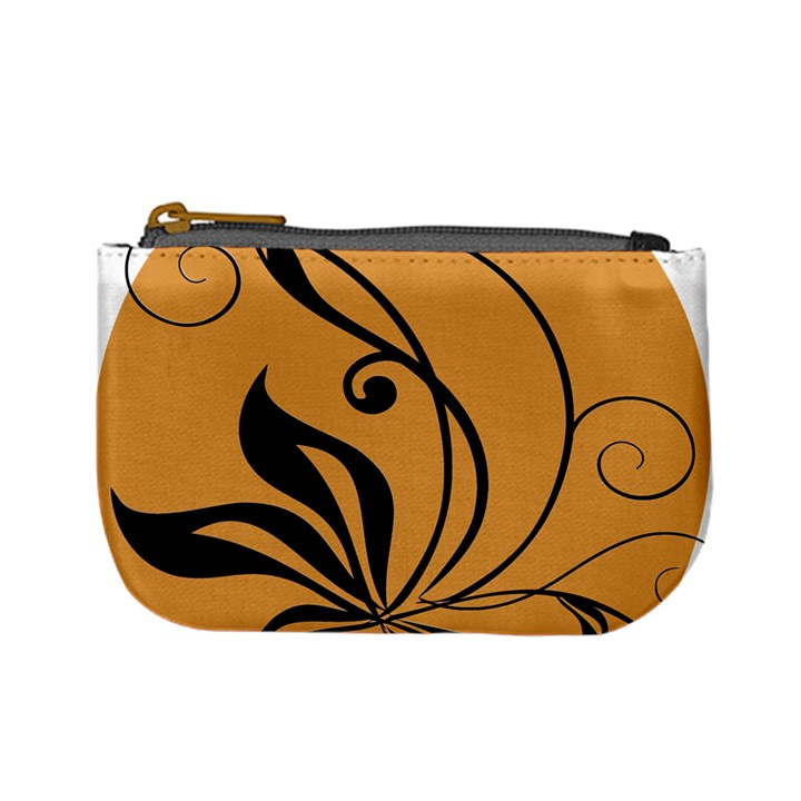 Black Brown Floral Symbol Mini Coin Purses