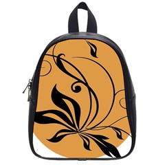 Black Brown Floral Symbol School Bags (Small)