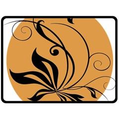 Black Brown Floral Symbol Fleece Blanket (Large)