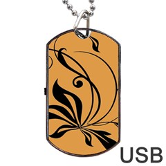 Black Brown Floral Symbol Dog Tag USB Flash (One Side)