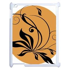 Black Brown Floral Symbol Apple iPad 2 Case (White)
