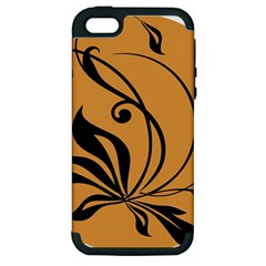 Black Brown Floral Symbol Apple iPhone 5 Hardshell Case (PC+Silicone)