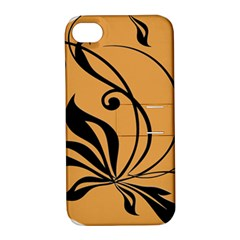 Black Brown Floral Symbol Apple iPhone 4/4S Hardshell Case with Stand