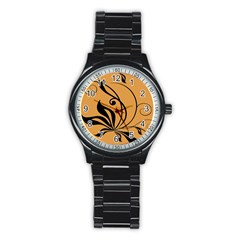 Black Brown Floral Symbol Stainless Steel Round Watch