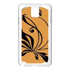 Black Brown Floral Symbol Samsung Galaxy Note 3 N9005 Case (White)