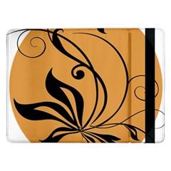 Black Brown Floral Symbol Samsung Galaxy Tab Pro 12.2  Flip Case