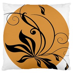 Black Brown Floral Symbol Large Flano Cushion Case (Two Sides)