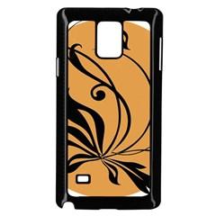 Black Brown Floral Symbol Samsung Galaxy Note 4 Case (Black)