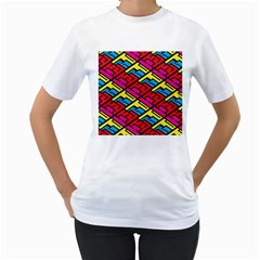 Color Red Yellow Blue Graffiti Women s T-Shirt (White) (Two Sided)