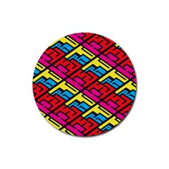 Color Red Yellow Blue Graffiti Rubber Round Coaster (4 pack)