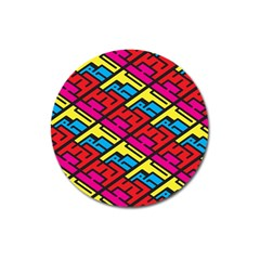 Color Red Yellow Blue Graffiti Magnet 3  (Round)