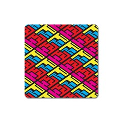 Color Red Yellow Blue Graffiti Square Magnet