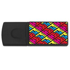 Color Red Yellow Blue Graffiti USB Flash Drive Rectangular (2 GB)