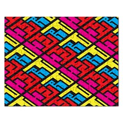 Color Red Yellow Blue Graffiti Rectangular Jigsaw Puzzl