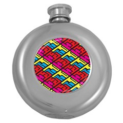 Color Red Yellow Blue Graffiti Round Hip Flask (5 oz)