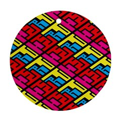 Color Red Yellow Blue Graffiti Round Ornament (Two Sides)