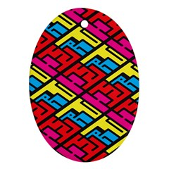 Color Red Yellow Blue Graffiti Oval Ornament (Two Sides)