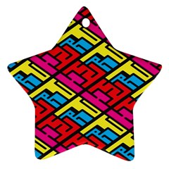 Color Red Yellow Blue Graffiti Star Ornament (Two Sides)