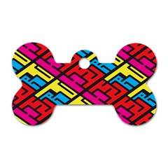 Color Red Yellow Blue Graffiti Dog Tag Bone (Two Sides)