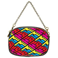 Color Red Yellow Blue Graffiti Chain Purses (One Side)