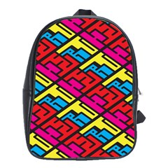 Color Red Yellow Blue Graffiti School Bags(Large)