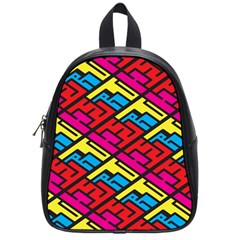 Color Red Yellow Blue Graffiti School Bags (Small)