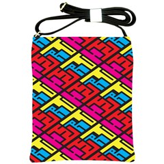 Color Red Yellow Blue Graffiti Shoulder Sling Bags