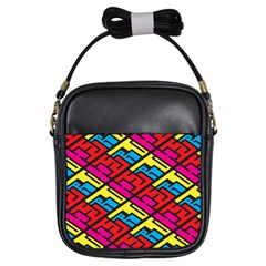 Color Red Yellow Blue Graffiti Girls Sling Bags
