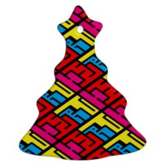 Color Red Yellow Blue Graffiti Christmas Tree Ornament (Two Sides)