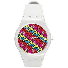 Color Red Yellow Blue Graffiti Round Plastic Sport Watch (M)