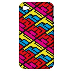 Color Red Yellow Blue Graffiti Apple iPhone 4/4S Hardshell Case (PC+Silicone)