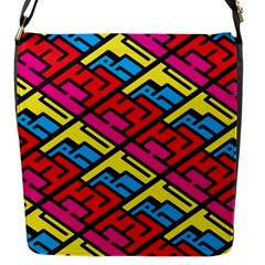 Color Red Yellow Blue Graffiti Flap Messenger Bag (S)