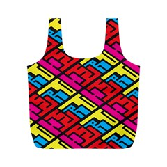 Color Red Yellow Blue Graffiti Full Print Recycle Bags (M)