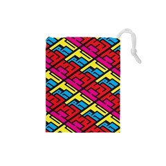 Color Red Yellow Blue Graffiti Drawstring Pouches (Small)
