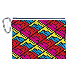 Color Red Yellow Blue Graffiti Canvas Cosmetic Bag (L)
