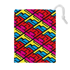 Color Red Yellow Blue Graffiti Drawstring Pouches (Extra Large)