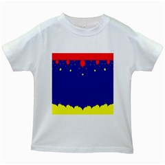 Critical Points Line Circle Red Blue Yellow Kids White T-Shirts