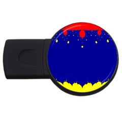 Critical Points Line Circle Red Blue Yellow USB Flash Drive Round (1 GB)